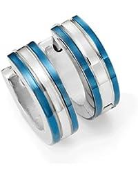 Hombres 316l acero inoxidable de dos tonos Pendientes de Huggie del aro con el océano azul Ip Bordes y 10mm de plata rayada
