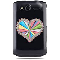 """GRÜV Premium Case - Design """"Regenbogen, Vielfarbig, Rosa Herz & Sterne"""" - Qualitativ Hochwertiger Druck Schwarze Hülle - für HTC G13 Wildfire S"""