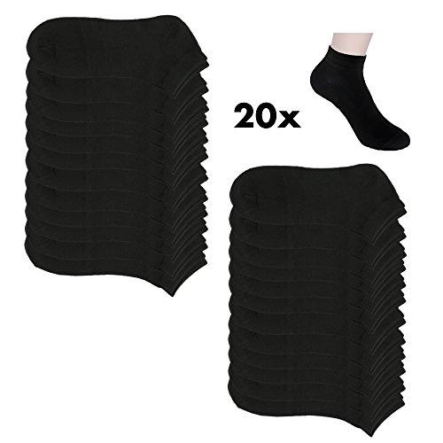 20 Paar Sneaker Socken Damen und Herren Kurzsocken Füßlinge Baumwolle in Schwarz und Weiß (39-42, 24xschw.)