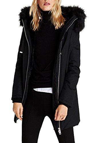 VILIER - Abrigo de Invierno Acolchado con Capucha para Mujer (Tallas 36 a 50) Negro Negro (Large