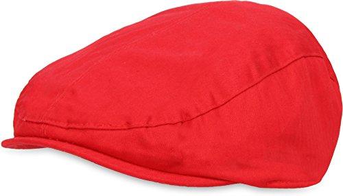 Unisex Gatsby Cap Schiebermütze Beret Baskenmütze Cap Herren Damen Super Leicht Schirmmütze Farbe Rot Größe XL