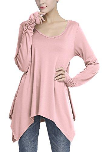 Urban GoCo Donna Tunica Top con Orlare Irregolare Foro per Il Pollice a Lunga Manica T-Shirt Rosa