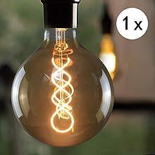 Lampadina LED Edison E27 Lampadina Edison retrò grande 4W Filamento decorativo Globelampen, Lampadina antica bianca calda G125 per illuminazione retrò nel ristorante Cafe House, non dimmerabile