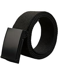 WSS–negro Unisex ajustable algodón Tejido Catch lienzo cintura cinturón ejército estilo combate, hebilla de plata hebilla