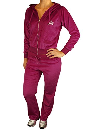 Cookies and Cream - Tuta da donna, felpa con cappuccio e pantaloni, stile sexy, da jogging, in velluto Purple Berry 54