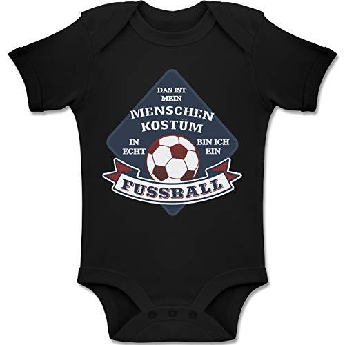 Shirtracer Karneval und Fasching Baby - Das ist Mein Menschen Kostüm in echt Bin ich EIN Fussball - 18-24 Monate - Schwarz - BZ10 - Baby Body Kurzarm Jungen (Fußball Baby Kostüme)