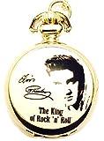 Elvis Presley Mottoparty Taschenuhr Halskette–Silber Vergoldet Kette–In Geschenkbox mit gratis Ersatz Batterie