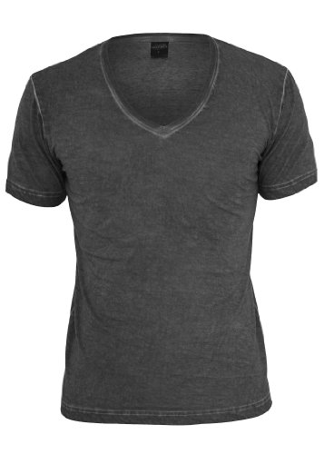 Urban Classics Spray Dye V-Neck T-Shirt, Dark Grey