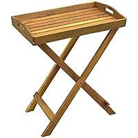 Bandeja con soporte Bali Z 60x 40x 72cm Bandeja de madera de acacia NATURAL