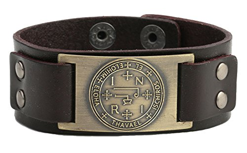 lemegeton Wicca Talisman Gothic Sigil von Erzengel dunkelbraun Leder Herren-Armband Charm Manschette Armband