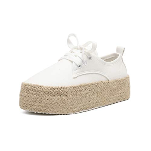 Zapatos Planos Mujer Plataforma Alpargatas Planas Zapatos de Cordones Cuña 4cm Zapatillas Deporte Calzado...