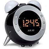 AKAI AR280P Réveil avec dispositif de projections de l'heure, fonction réveil et radio FM Argenté