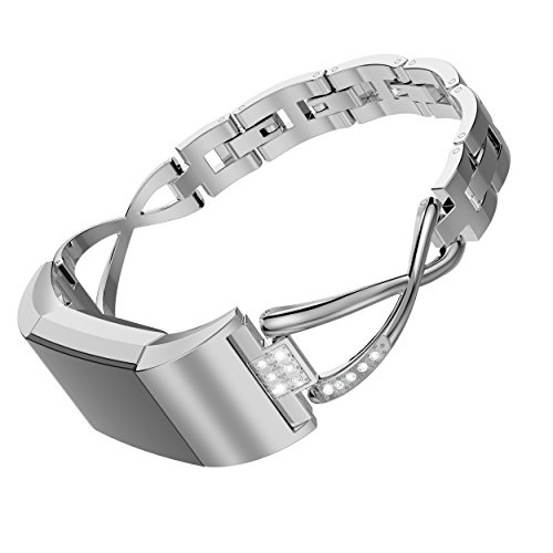 Wearlizer Für Fitbit Blaze Armbänder mit Metallrahmen, Milanese Loop Smart Watch Band, Ersatz Edelstahl Armband für Fitbit Blaze