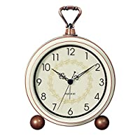 HFYAK Retro Desk Clock, Silent Quiet Non-ticking Retro Vintage Classic Bedside Alarm Clock, Battery Operated Travel Clock Wall clock Home Decor Best Gift