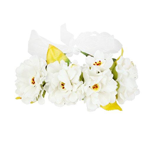 Guirlande de Fleurs Bandeau de Cheveux Boho Décor Festival Mariage - Blanc