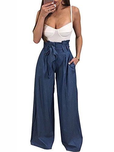 Minetom Damen Hosen Elegant High Waist Stretch Chiffon Skinny Hosen Pants Casual Streetwear Hosen mit Tunnelzug Blau EU M (Leder Hose Street)