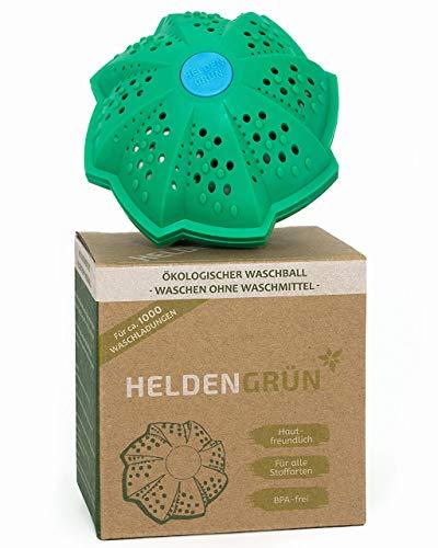 """Heldengrün® Öko Waschball [TESTURTEIL:\""""GUT\""""] - Nachhaltig Waschen ohne Waschmittel - Laborgeprüfte Qualität - Ideal für Umwelthelden, Allergiker und Familien - Bio Waschkugel mit 4-fach Mineralformel"""