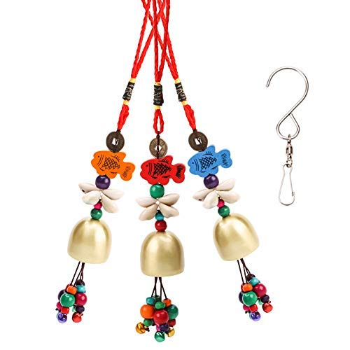 Siyaqi Windspiel Glocken, 3Pcs National Aufhängen Kupfer Glocke und Ein drehbarer Haken, Clips, Traditionelle Viel Glück Bless Craft Windspiel für Home Yard Garten Outdoor Living Decor