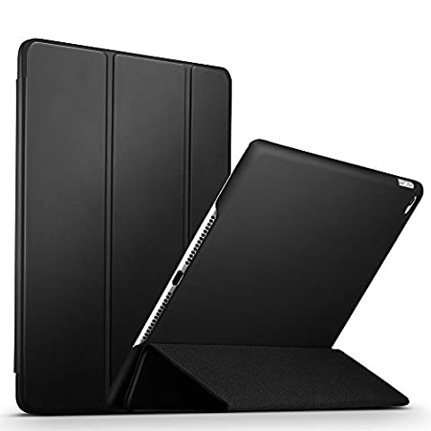 iPad Air 2 Case, ESR® [Soft Touching Rubber Cover] iPad Air 2 Slim Fit Leather Smart Case with Rubberized Back Cover and Auto Sleep/Wake Function for iPad Air 2 (Black)
