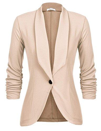 L'AMORE Damen Blazer Tailliert Kurz Elegante Langarm Slim Business Büro Jäckchen Anzug Casual Kurzblazer Mantel Jacke Oberteil- Gr. Medium, Khaki