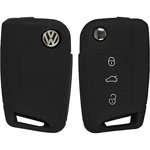 PhoneNatic Silikon Schlüssel Hülle für die VW Golf 7 / Octavia 3-Tasten Fernbedienung in schwarz Klappschlüssel 3-Key