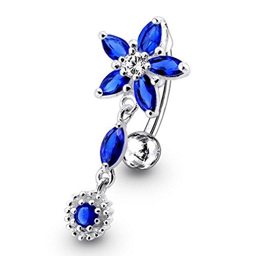 Dark Blue Crystal Stein Trendy Blume Design Sterling Silber Bauch Bars Piercing