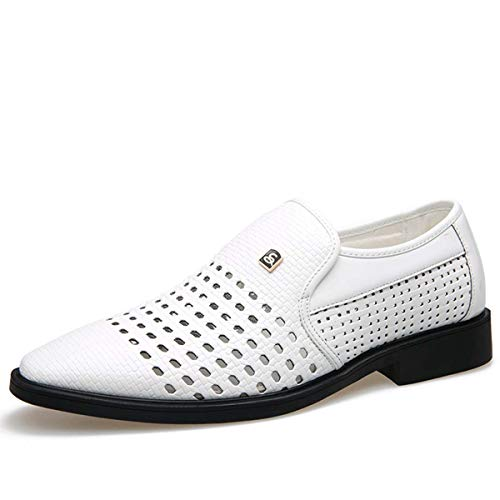 2019 New Summer Vintage Men's Leather Shoes Genuine Leather Soft Bottom Slip-on Sandals Hollow Out Weave Shoes 38-44 White 6.5 Hush Puppies Zappos