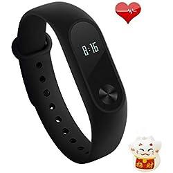 Xiaomi Mi Band 2 Bracelet de remise en forme (moniteur d'activité, moniteur d'activité, moniteur de fréquence cardiaque) Noir