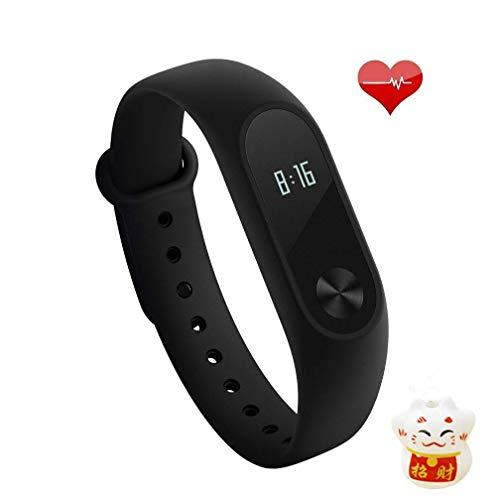Xiaomi Mi Band 2 Fitness Smartband, Aktivitätsarmband, mit Herzfrequenzmesser, schwarze Farbe