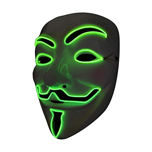SOUTHSKY LED Mascara Disfraz de Luces Neon Led Brillante V Vendetta Mask EL Wire Light Up 3 Modos For Halloween Costume Cosplay Party (V-Green)
