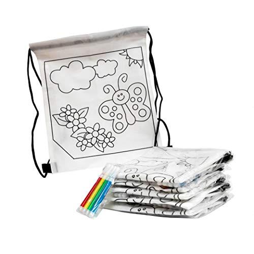 Fun Fan Line - Set di Zaini per Bambini da colorare con Disegni di Farfalla. Ideale per Battesimi e Feste di Compleanno, è Un Regalo Originale e Include marcatori Colorate! (Set di 30)