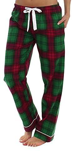 PajamaMania Women's Flannel Pajama PJ Pants, Green Plaid