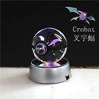 Night Light, Pokemon, Pikachu, Crobat, 80mm K9 Crystal Ball, Night Lamp for Baby