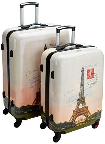 F|23 2-TLG. Trolley-Set, ABS/PC, Paris/Eiffelturm, (60+70 cm), beige Koffer-Set, 77 cm, 68.0 Liter, Beige