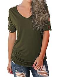 Babysbreath17 Mujeres Sexy Girl con cuello en V de verano camisetas blusa de algodón Casual hueco