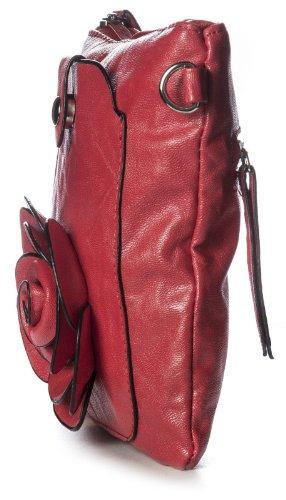 Big Handbag Shop - Borsa a tracolla donna Rosso (rosso)
