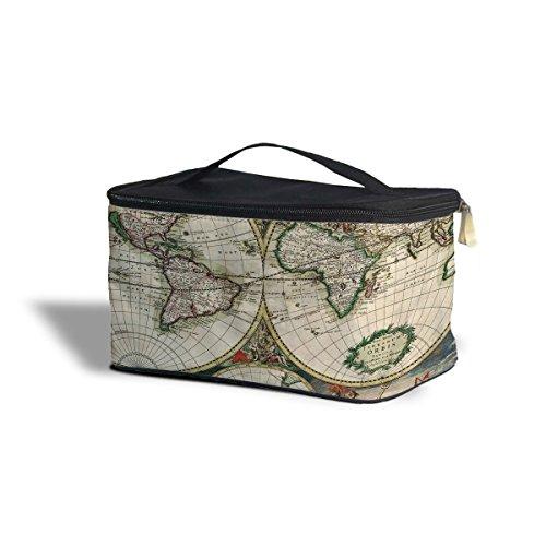 1689 Carte du monde antique Globe cosmétiques maquillage étui de rangement – Fermeture éclair sac de voyage, Green, One Size Cosmetics Storage Case