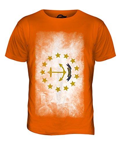 CandyMix Bundesstaat Rhode Island Verblichen Flagge Herren T Shirt Orange