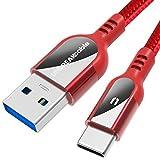 UNBREAKcable Typ C auf USB 3.0 Kabel - [2m] Ultra langlebiges Nylon geflochtenes USB C Schnellladekabel für Samsung Galaxy S10/S9/S8+, Huawei P30/P20 Pro Lite, MacBook, Sony, Pixel, HTC, LG - Rot