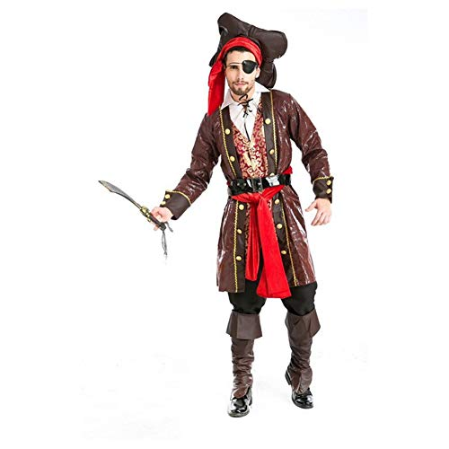 KAKAFASHION Halloween-Maskerade-Kostüm für Herren, Cosplay, Männer, Piraten-Dämon, Kapitän -
