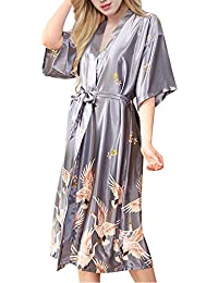 ETAOLINE Women s Long Kimono Robe Silk Dressing Gown Satin Nightwear  Pyjamas Bathrobe UK 8-16 5843c953c