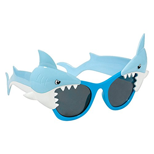 Hai Kopf Kostüm - Amscan International Hawaiian 250683 Shark Fun Shades