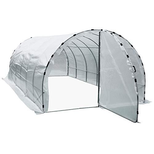 Serre de jardin tunnel surface sol 18 m² 6L x 3l x 2H m châssis tubulaire renforcé 25 mm double porte avec poignées blanc neuf 77WT