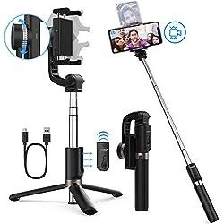Yoozon Perche Selfie Stabilisateur, 3 en 1 Selfie Stick Trépied avec Télécommande Bluetooth Rechargeable, 360° Bâton Selfie avec Monopode Extensible pour Smartphones