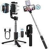 Yoozon Perche Selfie Stabilisateur, 3 en 1 Selfie Stick Trépied avec Télécommande Bluetooth...