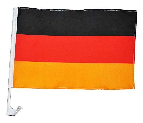 stabile Autofahne / Autoflagge - Deutschland - für die Fensterscheibe - Party deutsche Flagge Fahne - Fensterfahnen Geburtstag zum Jubiläum - Fensterflaggen deutsche Deko Fan - Sport Verein