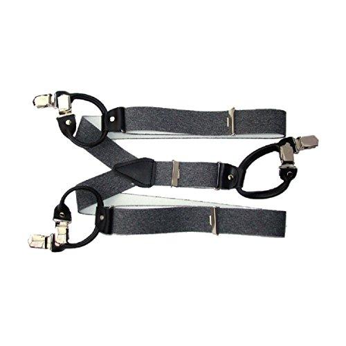 Hosenträger 6 Stark Clips Farbe & Länge Wählbar 3,5cm Breit ( Grau 150cm )