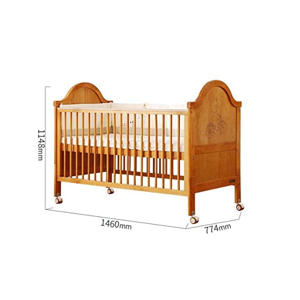 XUNMAIFLB Removable Wooden Baby Cot Bed, Toddler Bed, Solid Wood (inner Diameter: 1400 * 700mm) Multi-functional Crib, Play Bed Safety, Brown, 1460 * 774 * 1148mm XUNMAIFLB Rugged and durable: the wood is durable, oil-free, non-discoloring, and does not crack, increasing the life of the bed. Lockers: Large-capacity lockers, and more baby items can be stored in an orderly manner. It is important to see them easily and to take them easily. Strong load-bearing solid wood bed: widened and thickened skeleton The moon ship coir mattress has a static load of 50kg. 5