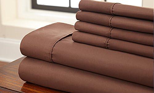 Dreamz Parure de lit Super Doux 450 Fils en Coton de égyptien (Lot de 7) de Coton lit + Housse de Couette Euro Petite Taille Unique, Chocolat/Marron Solide 100% Coton 450tc avec Housse de Couette de lit de987c