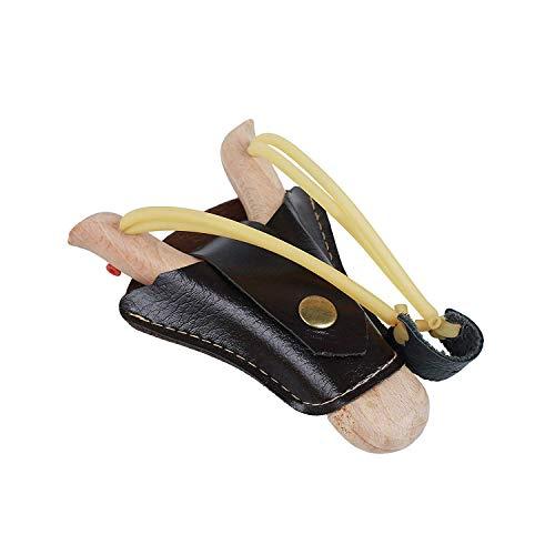 Flanacom Steinschleuder Zwille Schleuder aus Holz mit Tasche - professionelle Outdoor-Zwille für Sport, Jagd, Angeln und Baumpflege (Einzel)